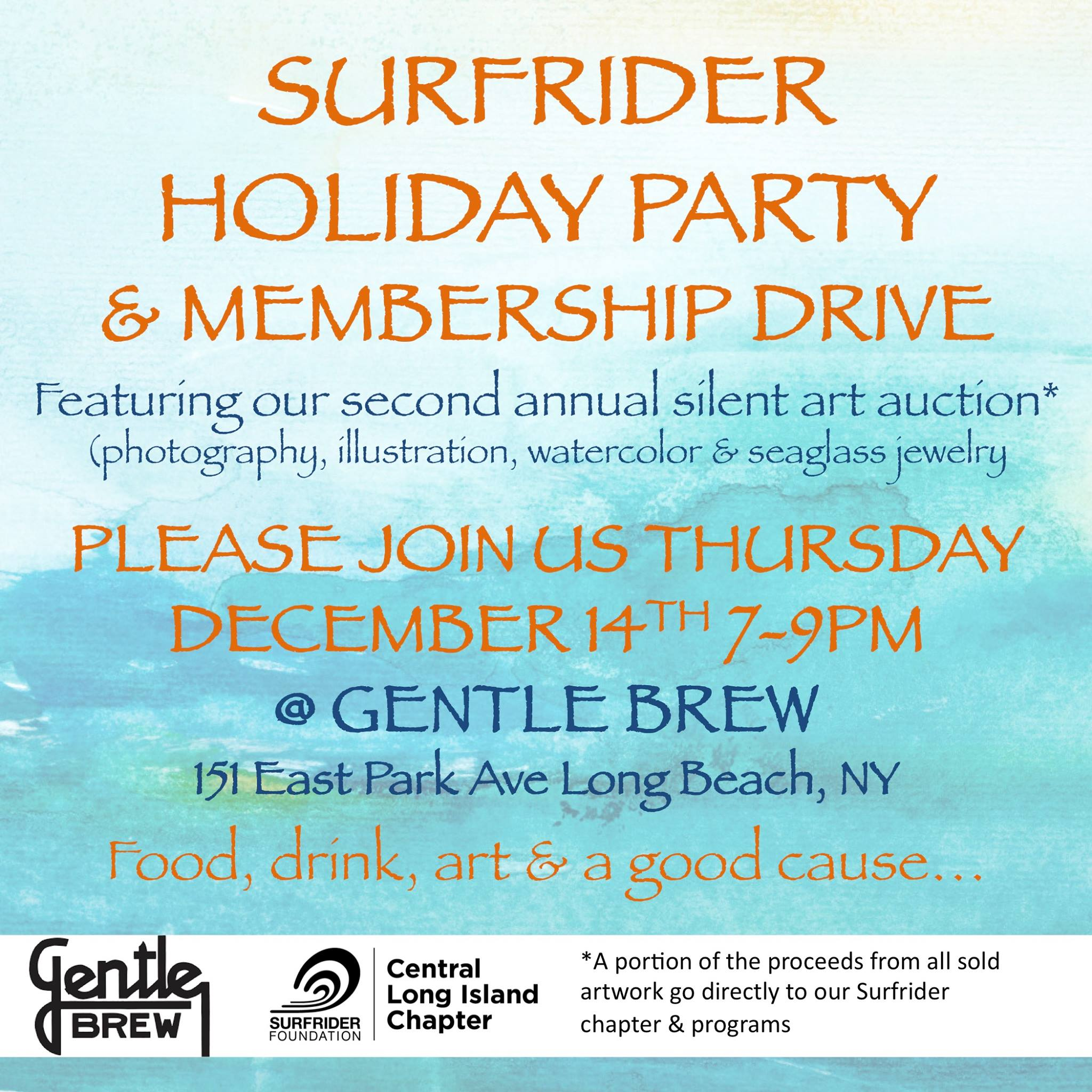 Come celebrate at Surfrider Central Long Island's 2nd Annual Silent Art Auction & Holiday Party!