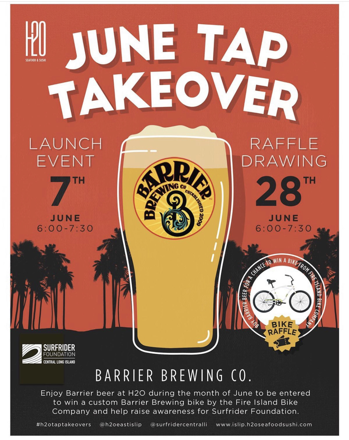 Tap Takeover & Fundraiser with Barrier Brewing and H20 East Islip, our newest Ocean Friendly Restaurant!